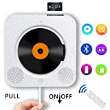 Portable CD Player with Bluetooth, Wall Mountable Compact Disc Player Home Audio Boombox with Built-in HiFi Speakers/LED Display/FM Radio/Remote Control/AUX Input Output, Portable CD Player, White