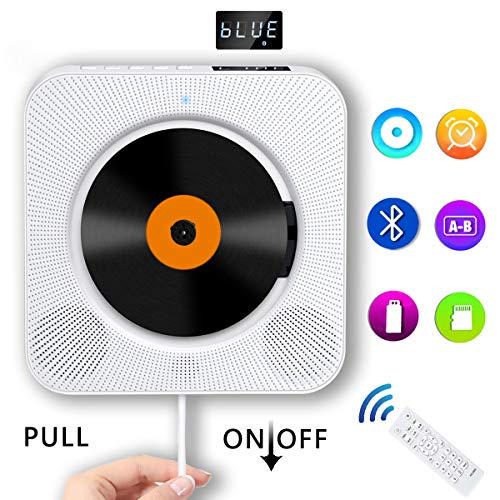 Portable Bluetooth CD Player, Wall Mountable Compact CD Player with Built-in HiFi Speakers/LED Display/FM Radio/Remote Control/AUX Input Output, Home Audio Boombox for Audio Books, Kids, Elders, White
