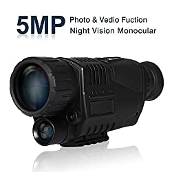 BOBLOV Night Vision Monocular, 5x40 HD Digital Infrared Night Vision Hunting Cameras 850nm Telescope with Camera & Camcorder Function Takes Day and Night IR Photo & Video (Black)