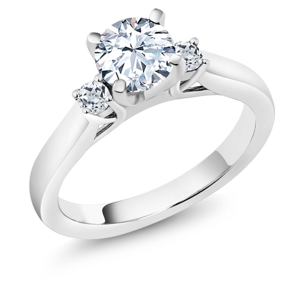 925 Sterling Silver White Created Sapphire and White Topaz 3-Stone Women's Ring (1.48 Ctw, Available in size 5, 6, 7, 8, 9)
