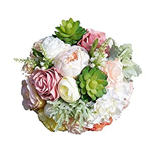 seemehappy Wedding Bridal Bouquet Wedding Holding Bouquet with Artificial Roses Succulent Perfect for Wedding, Church, Party and Home Decor 43