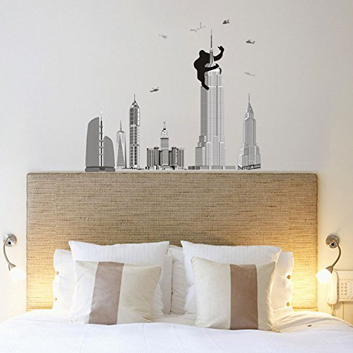 Fange DIY Removable King Kong Climbing Empire State Building Art Mural Vinyl Waterproof Wall Stickers Living Room Decor Bedroom Decal Sticker Wallpaper (Directions To Empire State Building)