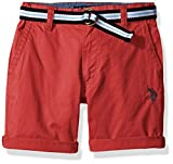 U.S. Polo Assn.. Big Boys' Fine Line Twill Short with Belt, Nantucket Red, 18