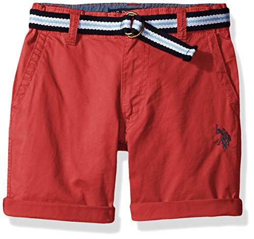 [U.S. Polo Assn. Big Boys' Fine Line Twill Short with Belt, Nantucket Red, 10] (Red Boys Shorts)