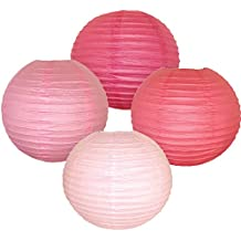 Just Artifacts - (4pcs) Assorted Pink - 18inch - Chinese/Japanese Hanging Paper Lantern Decorations
