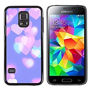 LECELL--Funda protectora / Cubierta / Piel For Samsung Galaxy S5 Mini, SM-G800, NOT S5 REGULAR! -- Hearts Pink Purple Teal City --