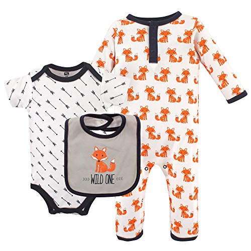Hudson Baby Baby 3 Piece Cotton Union Suit, Bodysuit and Bib Set, Fox, 3-6 Months