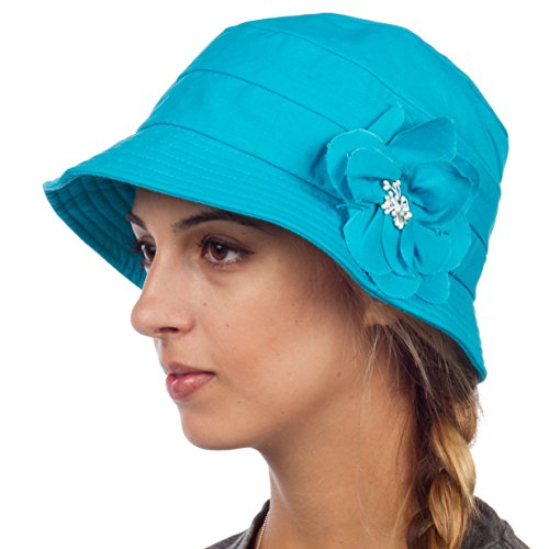 EH4641LC - Womens Solid Linen Blend Flower Accent Cloche Bucket Bell Summer Hat - Blue/One Size