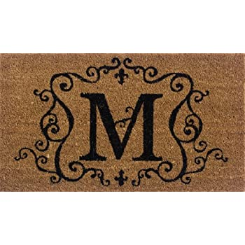High Quality Evergreen 2RM013 Monogram Door Mat, Coir Insert, Letter M, 16 Inches X
