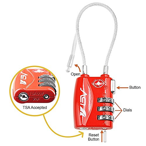 TSA Approved Luggage Travel Lock 2 Pack, Set-Your-Own Combination Lock for School Gym Locker,Luggage Suitcase Baggage Locks,Filing Cabinets,Toolbox,Case