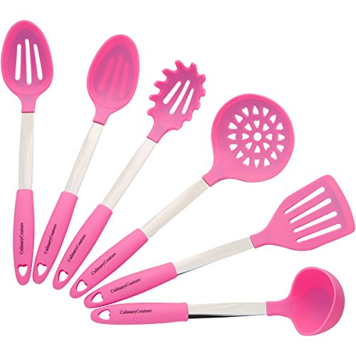 (Pink Cooking Utensil Set - Stainless Steel & Silicone Heat Resistant Professional Kitchen Tools - Spatula, Mixing & Slotted Spoon, Ladle, Pasta Fork Server, Drainer - Bonus Ebook!)
