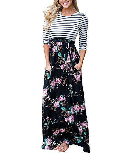 AUTCY Long Striped Floral Print Belted Casual Summer Dresses with Pockets for Women