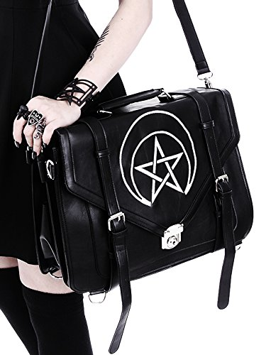 cuir pentagramme lune occulte noir Restyle imitation gothique cartable brodés et avec Sac w7R8qxpxIT