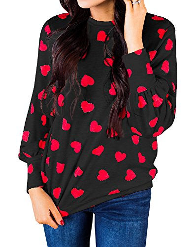 Womens Heart Printed Long Sleeve Tops Tee Shirts Red Rose ()