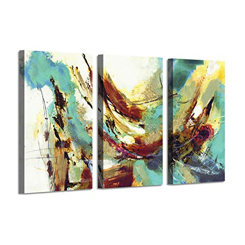 Abstract Artwork Picture Painting Print: Water & Fish Gold Foil Canvas Art for Wall