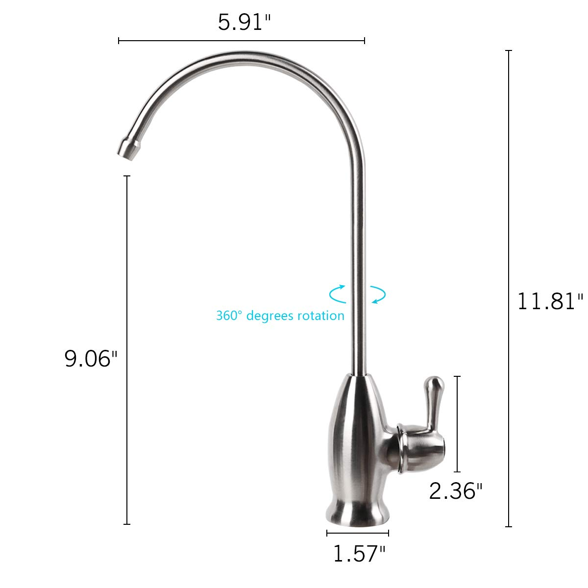 Skfirm Water Filter Faucet, Lead Free Stainless Steel Drinking Water Filter Faucet, Fits RO Water Filtration System, Brushed Nickel by Skfirm (Image #3)