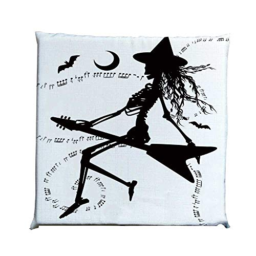 YOLIYANA Music Durable Square Chair Pad,Witch Flying on Electric Guitar Notes Bat Magical Halloween Artistic Illustration for Bedroom Living Room,One Size]()