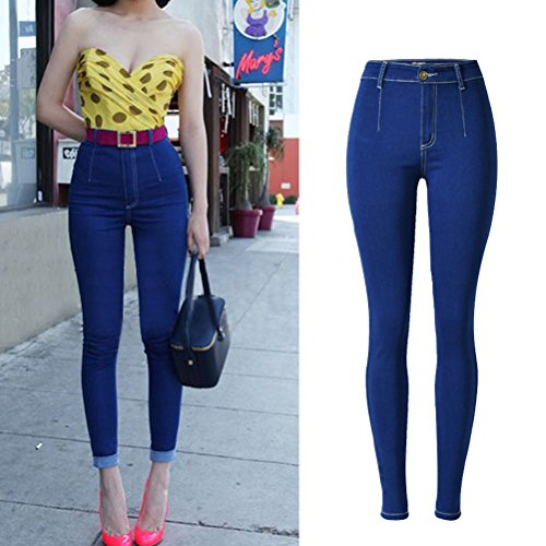Laixing Buena Calidad Popular Womens Stretch Jeans High Waisted Skinny Slim Fit Pencil Trousers SL023 Dark Blue