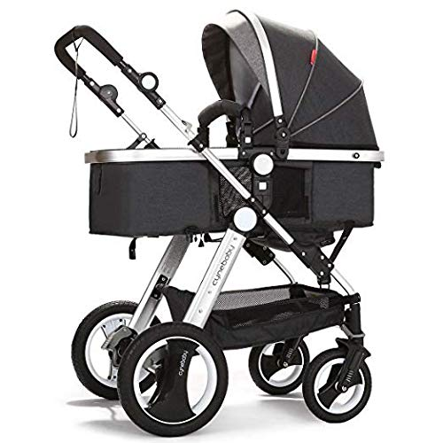 Belecoo Baby Stroller for Newborn and Toddler - Convertible Bassinet Stroller Compact Single Baby Carriage Toddler Seat Stroller Luxury Stroller with Cup Holder (Linen Black) by belecoo