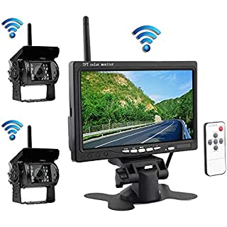 Sale Podofo Wireless Vehicle 2 x Backup Cameras Parking Assistance System Ir Night Vision Waterproof Rear View Camera + 7' Monitor for RV Truck Trailer Bus