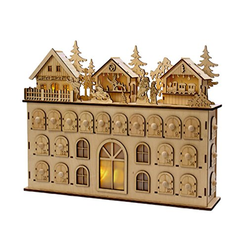 13'' LED Wooden Advent Calendar Christmas Decoration by KSA