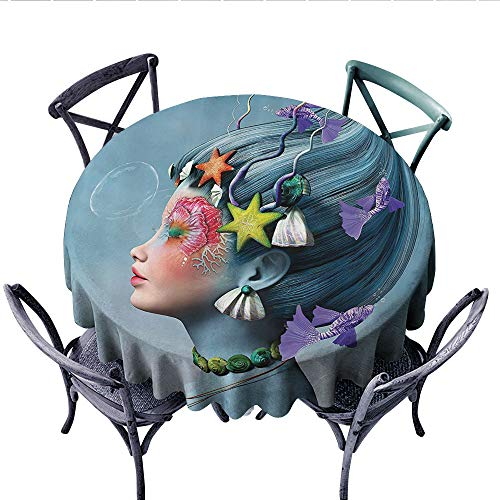 (Mermaid Patterned Tablecloth Woman with Underwater Themed Make Up Hairstyle Starfishes Seashells Fishes Bubbles Waterproof Table Cover for Kitchen (Round, 36 Inch,)