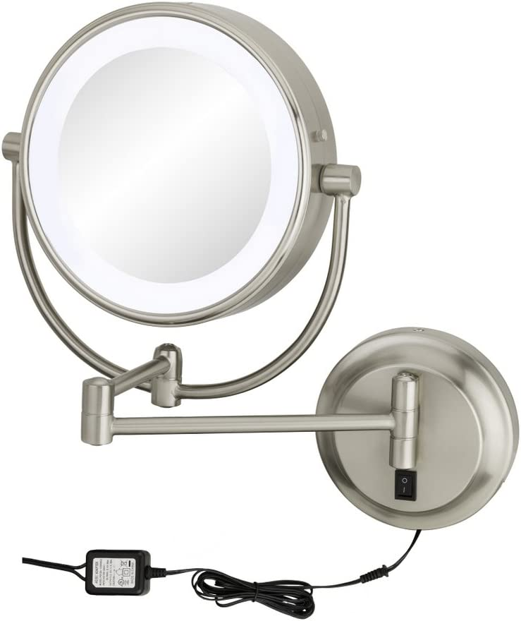 Kimball Young Chrome Neomodern Led Lighted Wall Mirror Hardwired Home Kitchen Amazon Com