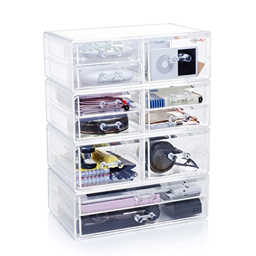 Choice Fun Extra Large Acrylic Drawer Storage Organizer for Cosmetics Beauty Products and Office Supplies Clear
