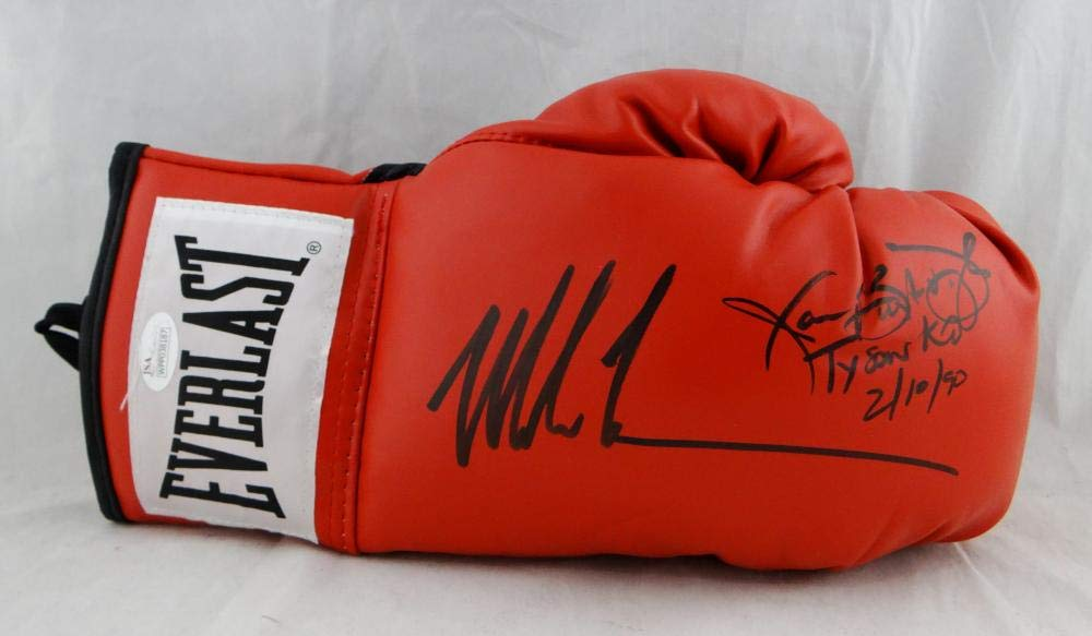 Mike Tyson Buster Douglas Signed Red Everlast Boxing Glove - JSA W Auth Black