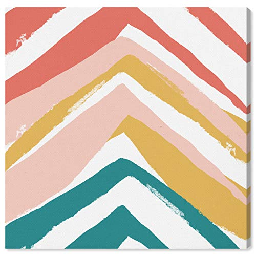 The Oliver Gal Artist Co. Abstract Wall Art Canvas Prints 'Mid Century Pyramids' Home Décor, 43″ x 43″, Green, Orange