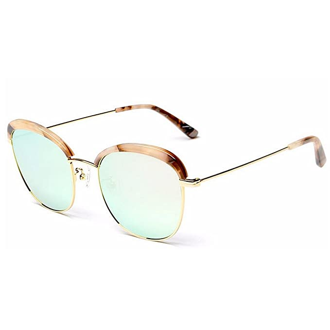 84e5bed4333f4 Lentes planos espejados Gafas de sol polarizadas para mujer Acetato de fibra  y marco de metal Lente TAC Brillante color de verano Protección UV  Conducción ...