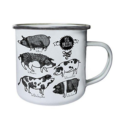 Farm Pig Breeds Retro,Tin, Enamel 10oz Mug u190e