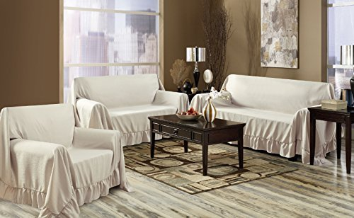 Venice Home 3 Piece Sofa, Loveseat, Chair Protector Throw Cover Set Taupe