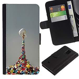 EJOY---Tirón de la caja Cartera de cuero con ranuras para tarjetas / Samsung Galaxy S5 Mini, SM-G800 / --Vómito Cráneo del arco iris