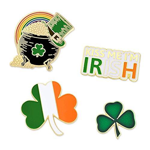 PinMart St. Patrick's Day Shamrock Pot of Gold Irish Flag Enamel Lapel Pin Set ()