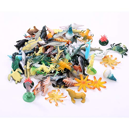 Fun Central AU194 1 to 2.25 inch Underwater Sea Animals,Deep Sea Creatures, Animal Figures, Sea Animal Toys, Rubber Sea Creatures, Bathtub Toys, Educational Toys for Kids-Assorted Styles, 90 Count ()