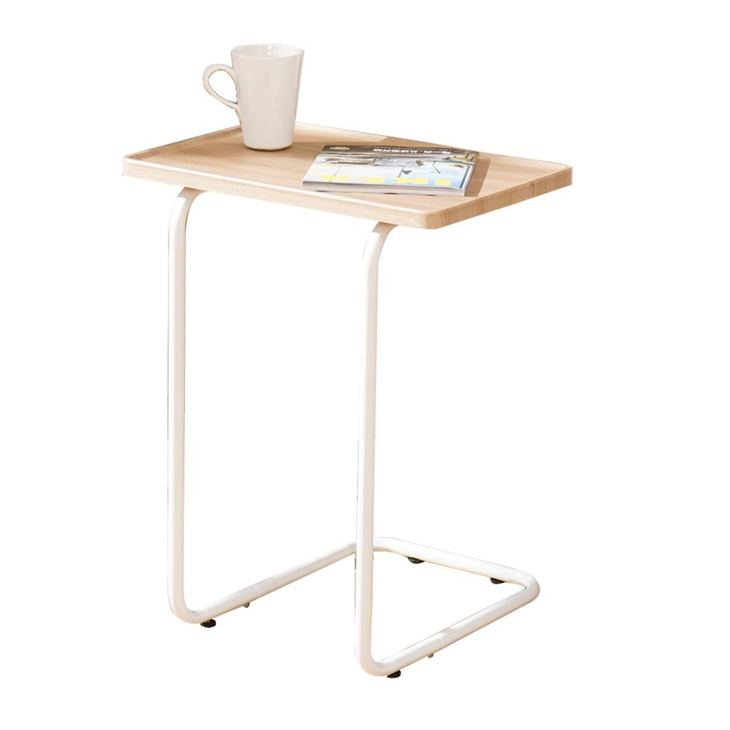 LYR Side Table in Modern Combination of Stainless Steel and Cherry Wood with Stainless Steel Frame in White by LYR