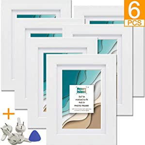 Memory Island, 5x7 Picture Frames, Display 5x7 Photos without Mat or, 4x6 with Matte. Set of 6 Pack for Wall or Tabletop, White Picture Frames.