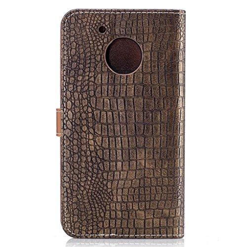 Trumpshop Smartphone Carcasa Funda Protección para Motorola Moto G5 [Dorado] Patrón de Piel de Cocodrilo PU Cuero Caja Protector Billetera Choque Absorción Dorado