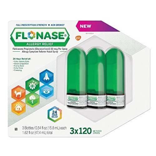 Flonase Allergy Relief Nasal Spray, 120 Count (Pack of 3) by Flonase
