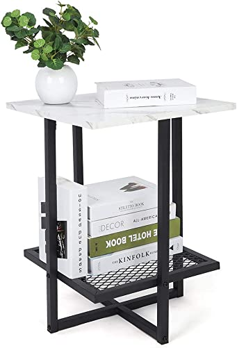 Yosoo Modern Marble Square Side End Table,White Wooden Accent Coffee Table Nightstand Bedside Metal Frame