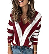 HOTAPEI Womens Long Sleeve Deep V Neck Hand Knit Striped Sweater Tops Loose Pullover Sweaters