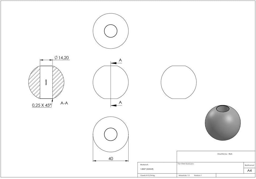 mit Sackloch 14,2 mm Kugel /Ø 35 mm Fenau roh Stahl S235JR