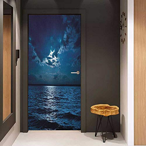 Door Sticker Night Majestic Dramatic Sky Clouds and Full Moon Over Seascape Calm Tranquil Ocean Glass Film for Home Office W30 x H80 Dark Blue White ()