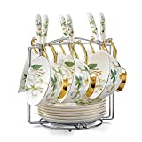 NDHT Set of 6 Bone China Bone China Teacups/Coffee Cups & Saucers Sets with Spoons-6.7Oz, for Home,Restaurants, Display for Family Or Friends,Golden,with a bracket,White and Green