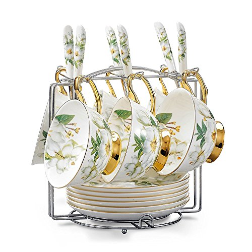 NDHT Set of 6 Bone China Bone China Teacups/Coffee Cups & Saucers Sets with Spoons-6.7Oz, for Home,Restaurants, Display for Family Or Friends,Golden,with a bracket,White and (Fine Bone China Tea Set)