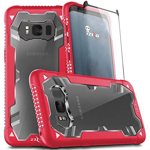 Zizo Proton 2.0 Series Compatible with Samsung Galaxy S8 Plus Case Military Grade Drop Tested with Tempered Glass Screen Protector RED Clear