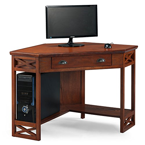 Leick Corner Computer and Writing Desk, Oak Finish - Wood Writing Table