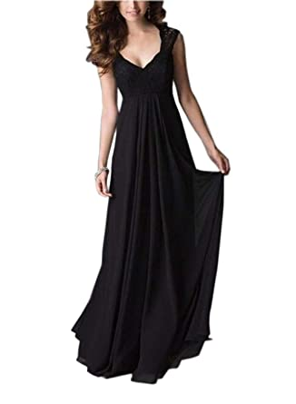 abe4ed328b6d REMASIKO Women's Deep- V Neck Sleeveless Vintage Maxi Party Evening Dress S  Black
