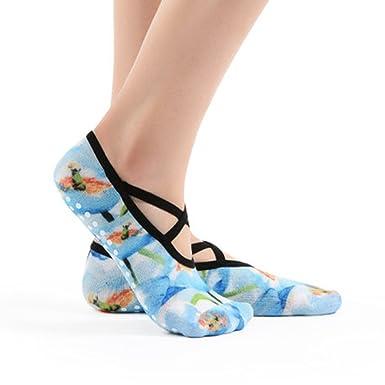 PinkBTFY Womens Cotton 3D Printed Ankle Socks Pilates Non-Slip Grip Dance Yoga Socks Blue